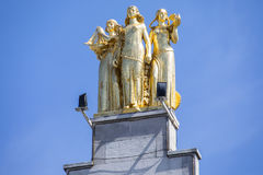 Gold Statue in Lille Stock Photo