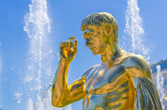 Gold statue in Peterhof Royalty Free Stock Images