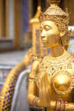 Gold statue in a temple. Gold statue of the woman-bird in a temple bangkok Stock Photography