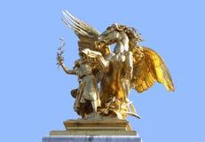 Gold statues of Alexander III bridge Stock Photo