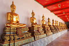 Gold statues of the Buddha Royalty Free Stock Image