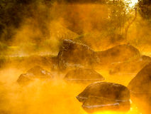 Gold steam. Beautiful gold steam hot spring at Jae Son National Park,Thailand Royalty Free Stock Image