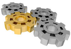 Gold and steel gears Royalty Free Stock Photo