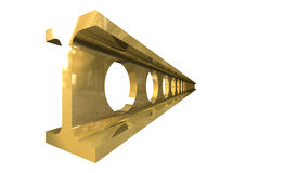 Gold steel girder isolated Royalty Free Stock Photo