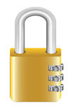 Gold steel master key lock with padlock Royalty Free Stock Photography