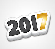Gold sticker 2017 New Year Stock Image