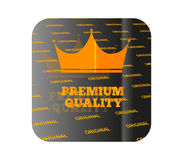 Gold sticker premium quality. Holographic sticker with the image of a crown and guaranteed product quality Royalty Free Stock Image