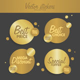 Gold stickers set  illustration. Concept for web sites banners and labels Stock Photography