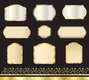 Gold stickers set vector illustration