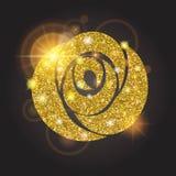 Gold stieg mit hellen Pailletten Große Sonneneruption, Glühen, Feiertag, Verzierungen für Design Auch im corel abgehobenen Betrag Stockfotografie