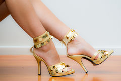 Gold Stiletto Shoes Royalty Free Stock Photo