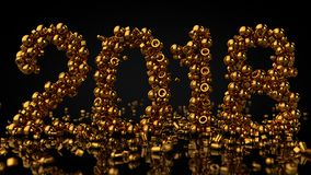 Gold Stones Arranged In Number 2018, 3D Rendering.  Stock Photo