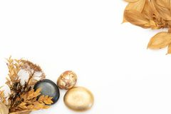 Gold stones and dried flowers on a white background. Spa background and gold leaf stock image