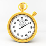 Gold stop watch. 3d gold stop watch on white backgrund Stock Photo