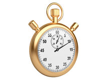 Gold stopwatch - time concept isolated on a white background Royalty Free Stock Photos
