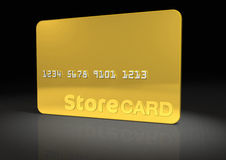 Gold Store Card. Gold Srore Card on Black reflective surface (includes clipping path Stock Photo