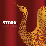 Gold stork with head up. Ready for logo Stock Photos