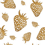 Gold strawberry seamless pattern. Berry hand painted abstract nature background. Royalty Free Stock Photo