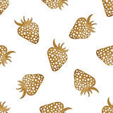Gold strawberry seamless pattern. Berry hand painted abstract nature background. Stock Photography