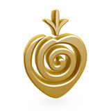 Gold strawberry symbol Royalty Free Stock Images