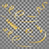 Gold streamers set. Golden serpentine ribbons, isolated on trans. Parent background. Decoration for party, birthday celebrate or Christmas carnival, New Year Royalty Free Stock Photo