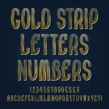 Gold strip letters, numbers, dollar, yen, pound and euro currency signs, exclamation and question marks.  royalty free illustration