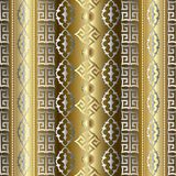Gold striped geometric seamless pattern with vertical golden 3d. Greek key and vintage  damask ornaments. Modern vector background wallpaper with surface Royalty Free Stock Photos