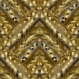 Gold 3d meander seamless pattern. Gold striped meander seamless pattern. Surface golden geometric background. Luxury 3d greek key wallpaper. Waves, abstract Royalty Free Stock Image