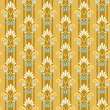 Gold striped seamless pattern with cornflowers. Stock Photo