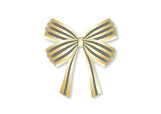Gold stripes ribbon bow. Illustration Stock Image