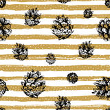 Gold strips and fir cones seamless pattern on striped background. Christmas repeating pattern, Hand drawn design elements. Hipster backdrop modern design Stock Photos