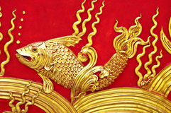 The gold stucco design of native thai style on the Stock Image