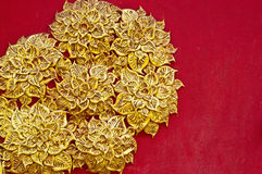 The gold stucco design of native thai style on the. Wall of Thailand stock images