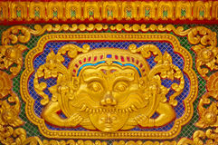 Gold stucco design of native thai style Stock Photo