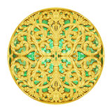 Gold Stucco design of native thai style antique flower. On white background Royalty Free Stock Photos