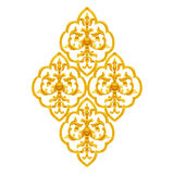Gold Stucco design of native thai style antique flower. On white background stock photos