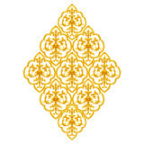 Gold Stucco design of native thai style antique flower. On white background Royalty Free Stock Photography