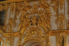 Gold stucco on the walls Royalty Free Stock Images