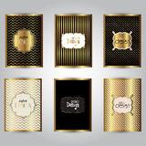 Gold stylish brochure templates. Collection of stylish gold brochure designs Stock Images