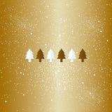 Gold stylized flat Christmas trees on dark blue background. Ribbons decoration. Stock Image