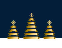 Gold stylized flat Christmas trees on dark blue background. Ribbons decoration. Stock Photo