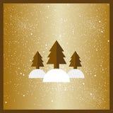 Gold stylized flat Christmas trees on dark blue background. Ribbons decoration. Royalty Free Stock Images