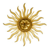 Gold sun with face Stock Photo