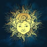 Gold sun with face of cute curly smiling baby boy over blue sky background. Hand drawn sticker, fabric print or boho flash tattoo Stock Image