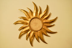 Gold sun frame Stock Images