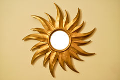 Gold sun frame. Golden sun in the form of a decorative frame royalty free stock image