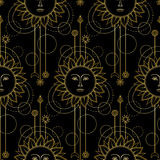 Gold Sun Modern Seamless Pattern Royalty Free Stock Images