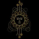 Gold Sun Modern Symbol Stock Image