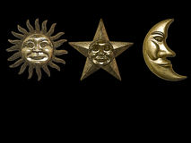 Gold sun star moon Stock Image