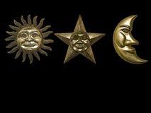 Gold sun star moon Stock Image